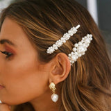 5Pcs Fashion Pearl Hair Clip Snap Button Hair Pins Headpieces