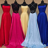 A Line Red Spaghetti Straps Open Back Prom Dresses with Slit Pockets JS686