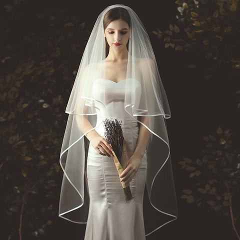 Wedding Veil Tulle Bridal Veils With Comb 2-layer Long Veil