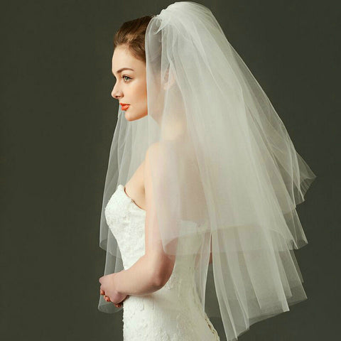 Long Chiffon Cathedral Veil for Wedding Cheap Wedding Veils V03
