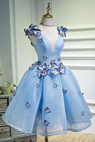 A Line Sky Blue V Neck Lace up Junior Cute Homecoming Dress with Butterfly Flowers JS781