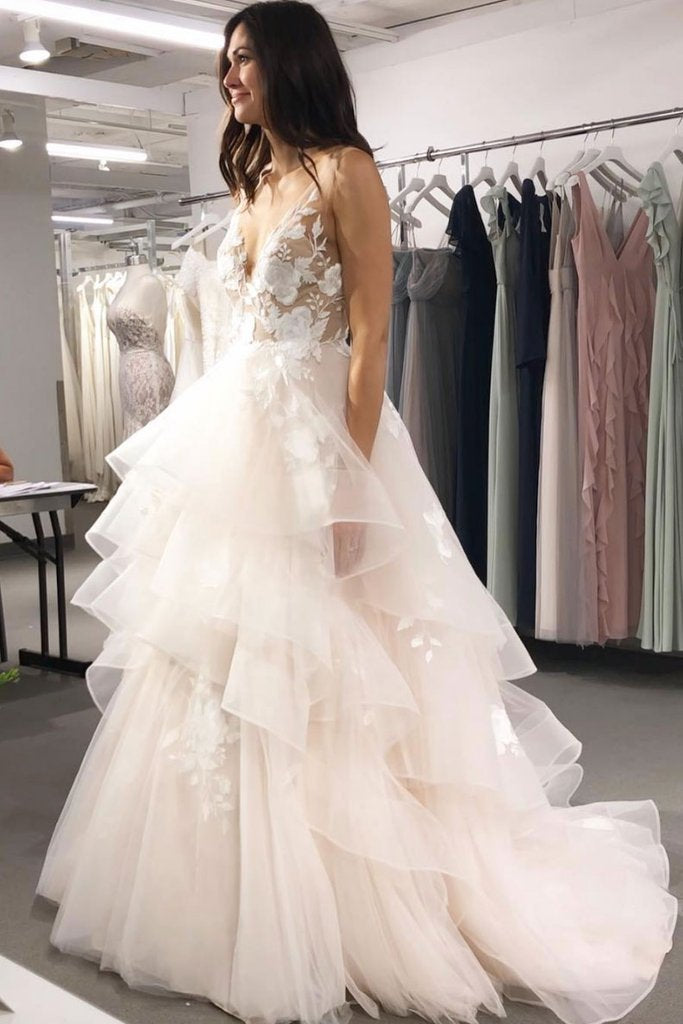 A Line V Neck Tulle Long Prom Dresses,Asymmetrical Lace Appliques Party Dresses uk PW225