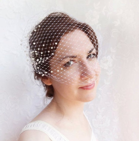 wedding bandeau veil small birdcage veil