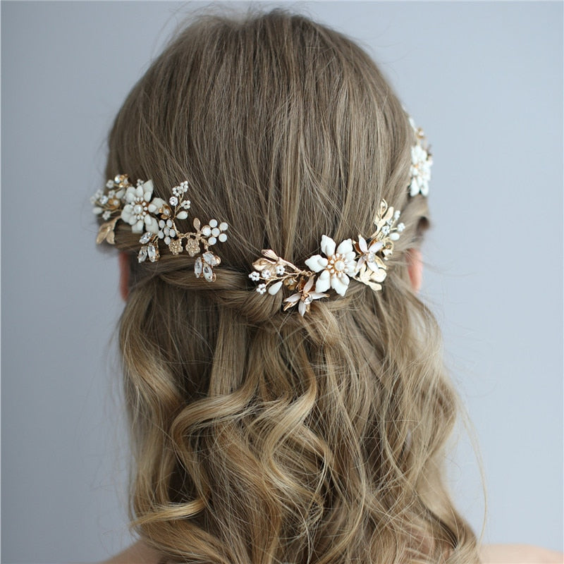 Gold Floral Bridal Headpiece Hair Pin Clip Handmade Leaf Wedding Hair Ornament Prom Jewelry