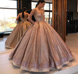 Princess Rose Gold Spaghetti Straps Sleeveless Ball Gown Prom Dress with Pockets