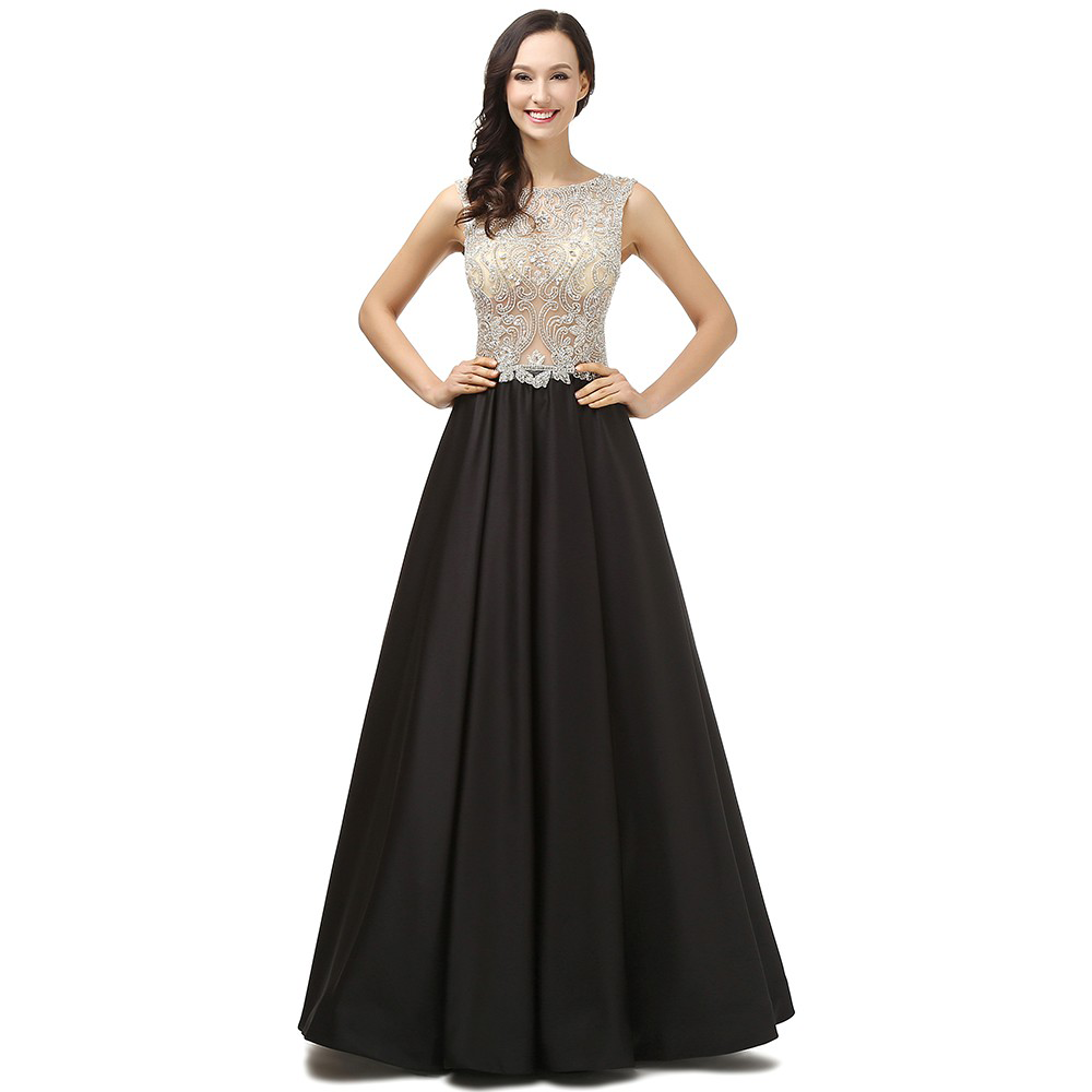 Beading Bodice Black Floor Length Prom Dresses Evening Dresses
