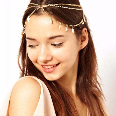 Bohemian Gold Color Metal Leaves Tassel Rhinestone Party Headpieces