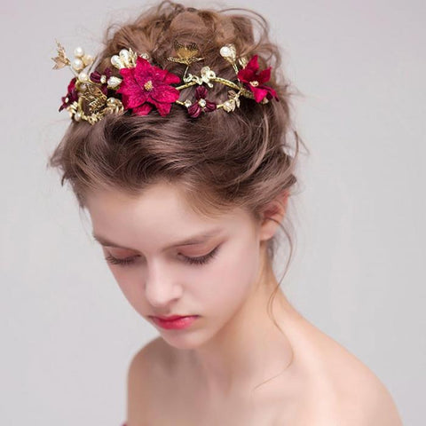 Gold Rhinestone Crystal Pearl Flower Bridal Tiaras Headband Women Headpiece