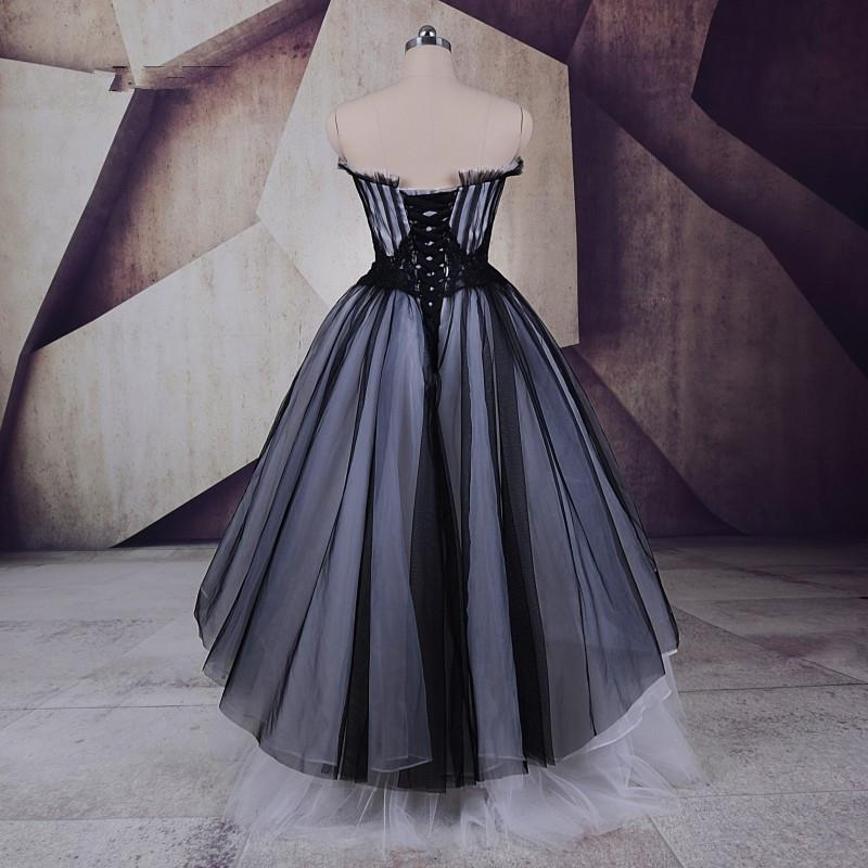 A Line Tulle High Low Sweetheart Strapless Sleeveless Prom Dresses Homecoming Dresses JS25