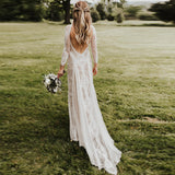 A line Ivory Long Sleeve Wedding Dresses Lace High Neck Wedding Gowns JS495