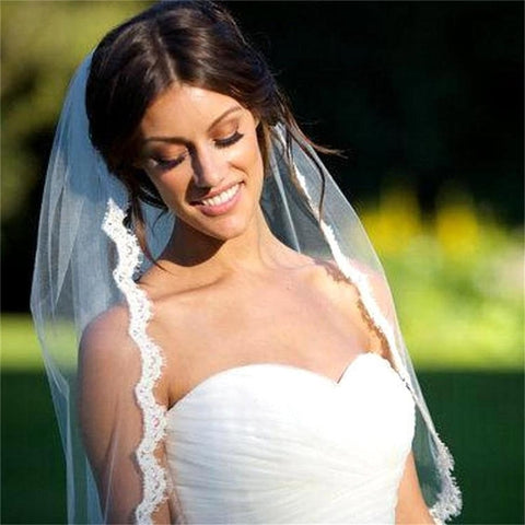 Simple One Layer Short Tulle Wedding Veils with Comb Beige Bridal Veil for Bride Mariage Wedding Accessories