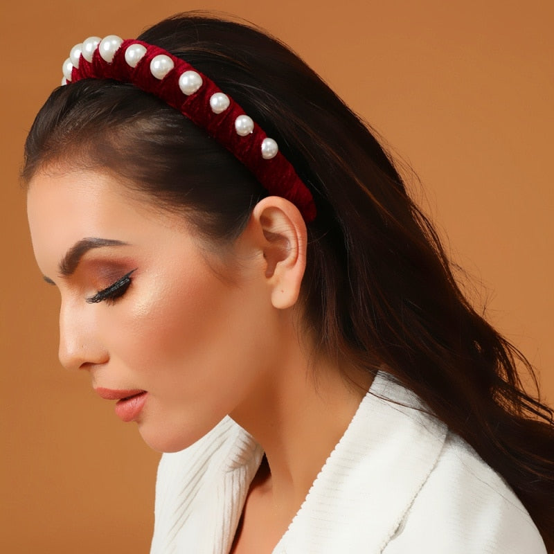 Velvet Pearl Headband Women Knot Bezel Fashion Headpieces