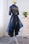 High Neck High Low Dark Navy Half Sleeve Tulle Homecoming Dresses with Appliques H1036