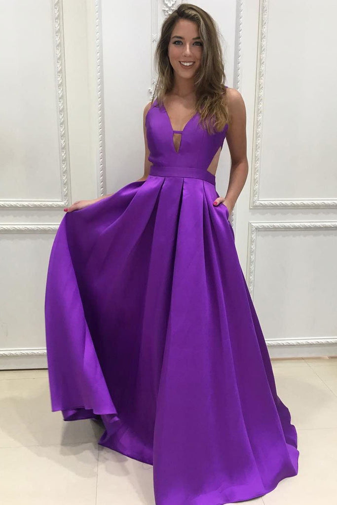 A-line V-Neck Satin Long Simple Backless with Pockets Purple Sleeveless Prom Dresses JS312