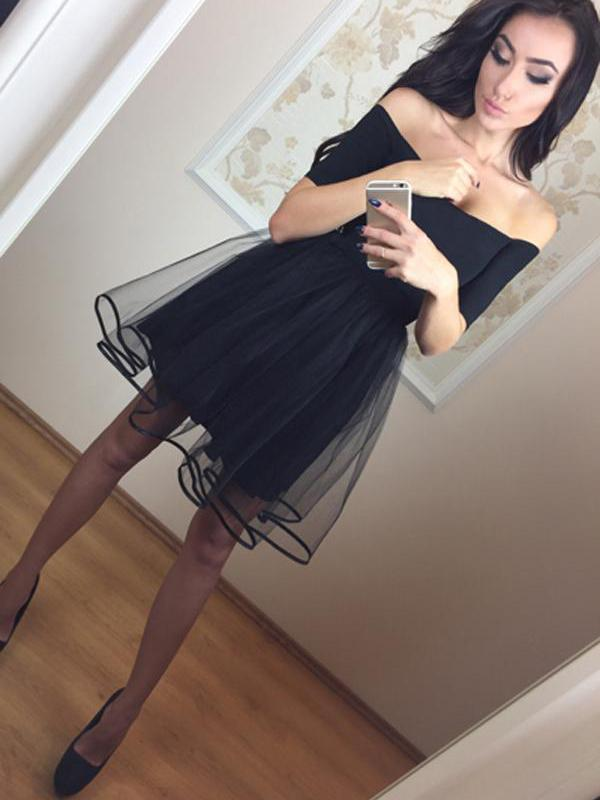 Homecoming Dress Little Black Dress A-line Off-the-shoulder Short Prom Dress