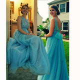 Chic Bateau Sleeveless Floor-Length Backless Beading Prom Dress with Bow JS599