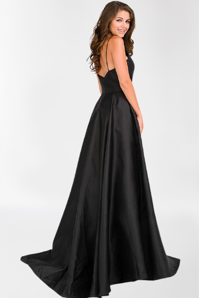 Charming Prom Dress Black Satin Long Evening Dress Formal Gown