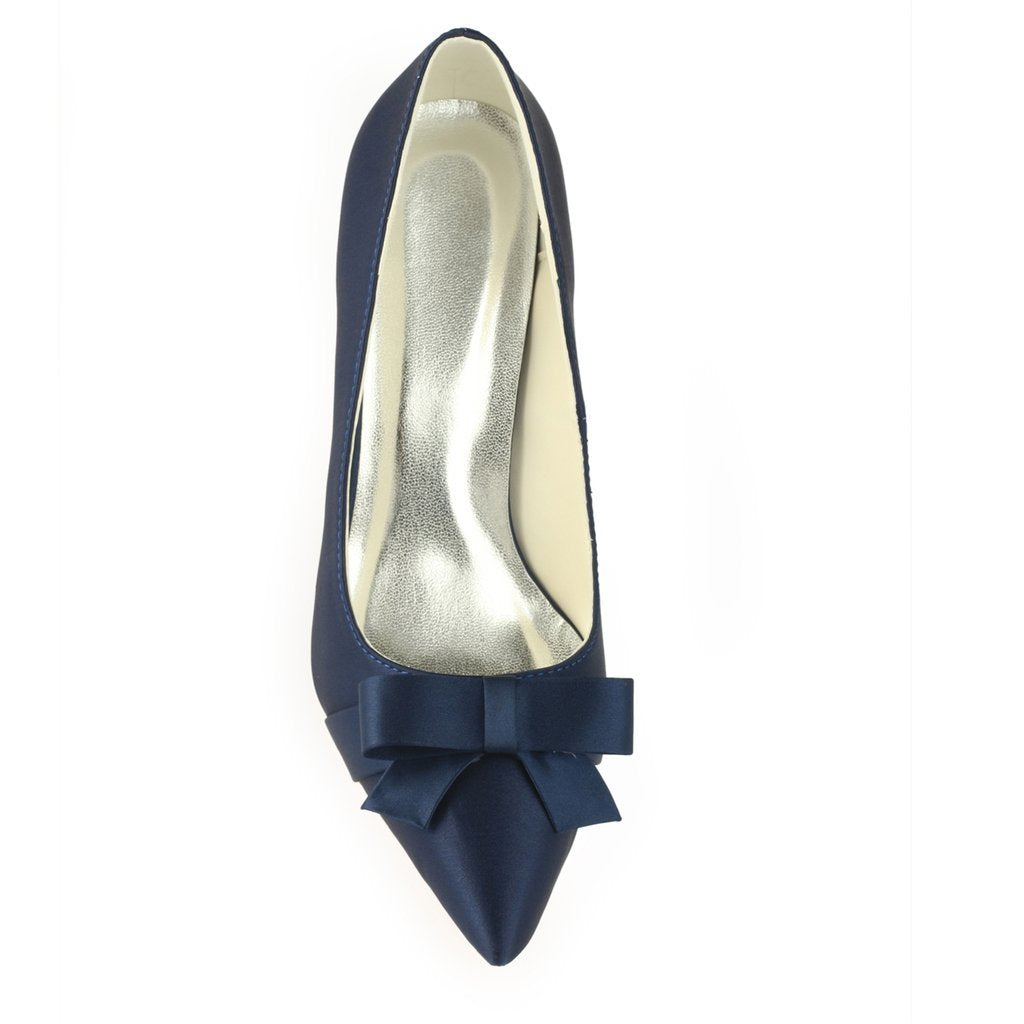 Navy Blue High Heels Wedding Shoes with Bowknot Fashion Satin Wedding Shoes uk L-942