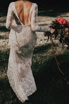 Long Sleeve Ivory Sheath Gowns Backless Lace Applique Country Wedding Dresses