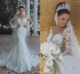 Long Sleeve Lace Wedding Dress Mermaid Beads Lace Appliques Wedding Gowns JS476
