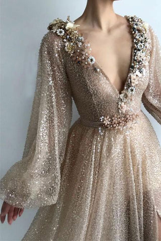 Long Sleeve Sequin V Neck Prom Dresses with Split Handmade Flowers Evening Dress JS800