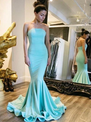 Mermaid Prom Dress Strapless Mermaid Long Evening Dress