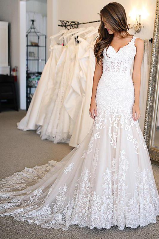 Mermaid Lace Applique Sweetheart Ivory Wedding Dresses, Long Wedding Dresses PW945