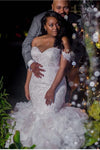Mermaid Lace Off the Shoulder V Neck Ivory Wedding Dresses with Appliques, Bridal Gowns PW988