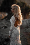 Mermaid Long Sleeve Lace Beach Wedding Dresses Backless V Neck Boho Gowns