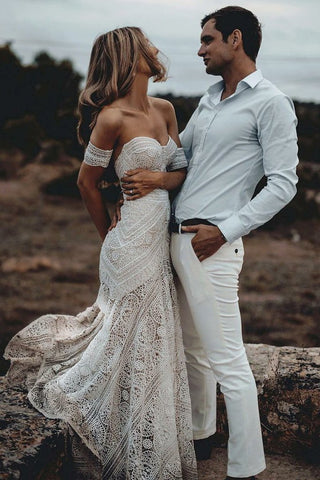 Unique Mermaid Off The Shoulder Ivory Lace Beach Wedding Dress Bridal Dresses