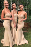 Mermaid Sweetheart Sexy Wedding Party Dresses Strapless Long Bridesmaid Dresses BD1018