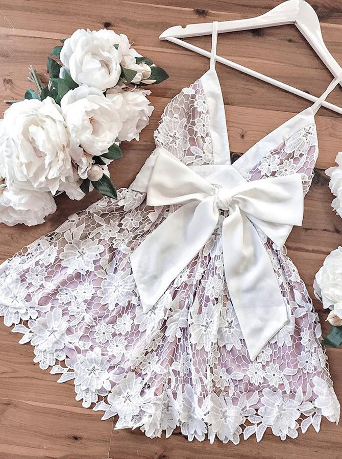 A-Line Spaghetti Straps Short Lace V Neck Ivory Homecoming Dress with Bowknot JS658