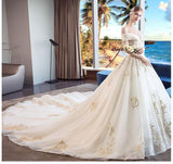 Off the Shoulder Ball Gown Sweetheart Wedding Dress Long Appliques Bridal Dress JS619