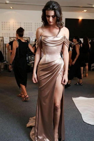 Off the Shoulder High Slit Prom Dress with Ruffles Mermaid Brown Long Formal Dress JS489
