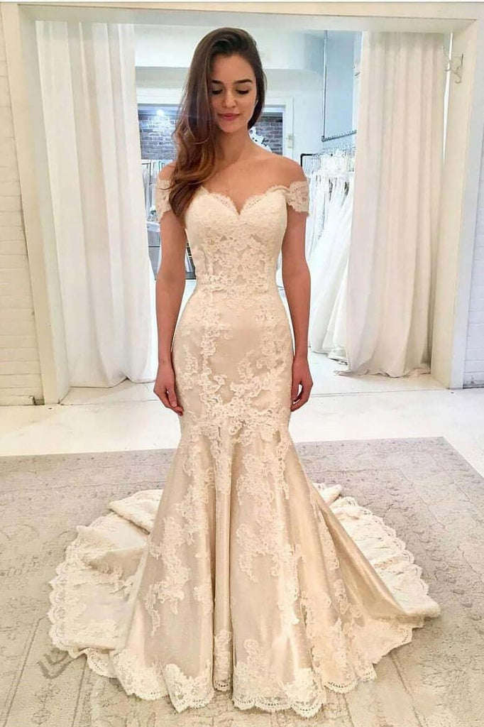 Off the Shoulder Lace Mermaid Sweetheart Wedding Dresses with Train, Wedding Gowns PW380