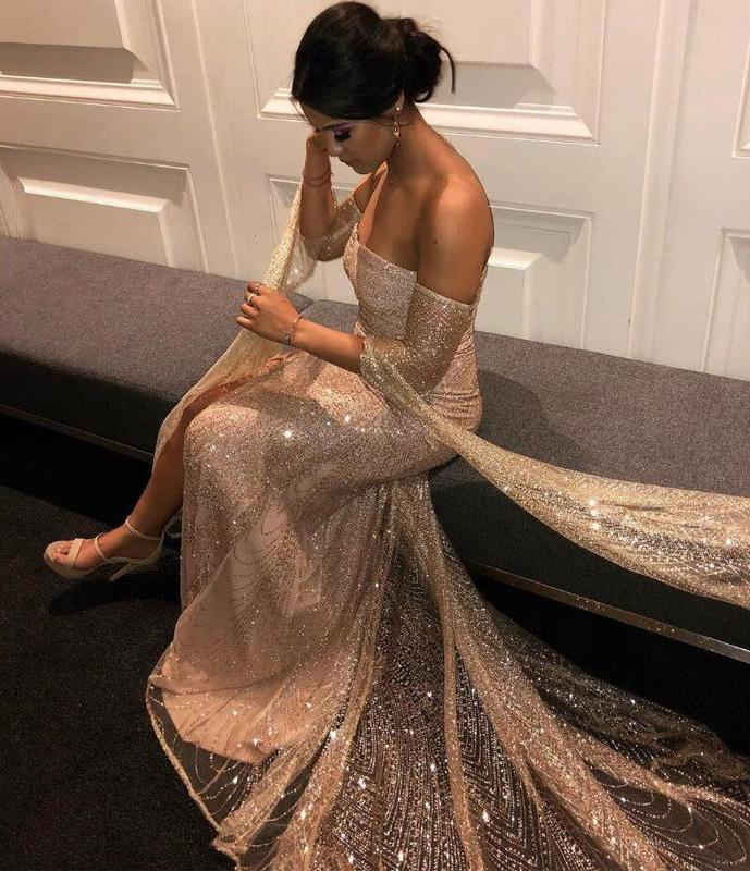 Off the Shoulder Sparkle Long Sleeves Prom Dresses Sequins Mermaid Evening Dress JS480