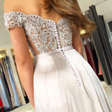 Off the Shoulder Sweetheart Lace Appliques Prom Dresses with Chiffon Party Dresses P1023