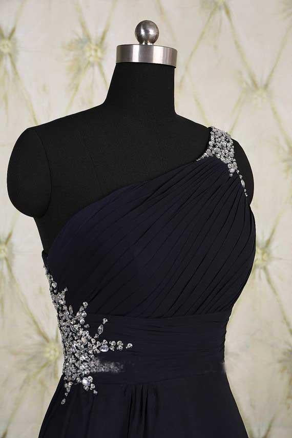 One Shoulder Ombre Black and Blue Ruffles Prom Dresses Simple Cheap Party Dresses JS692