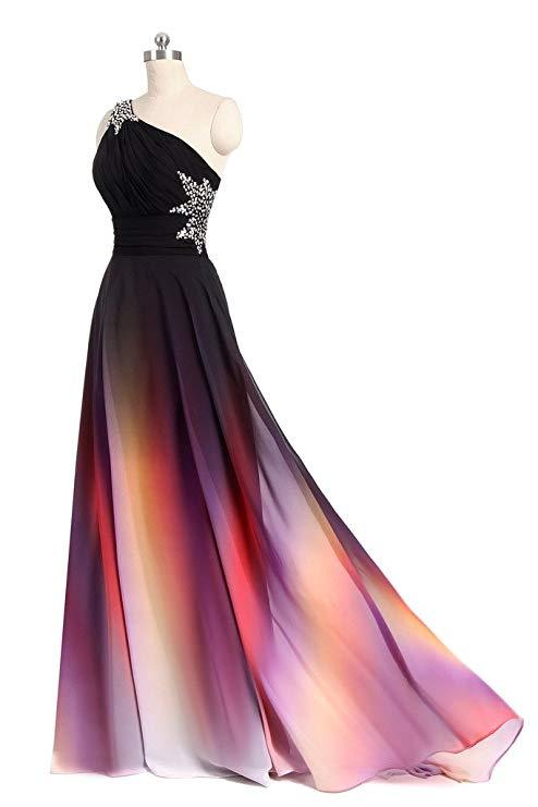 One Shoulder Ombre Chiffon Prom Dresses Lace up A Line Beads Ruffles Prom Gowns JS531