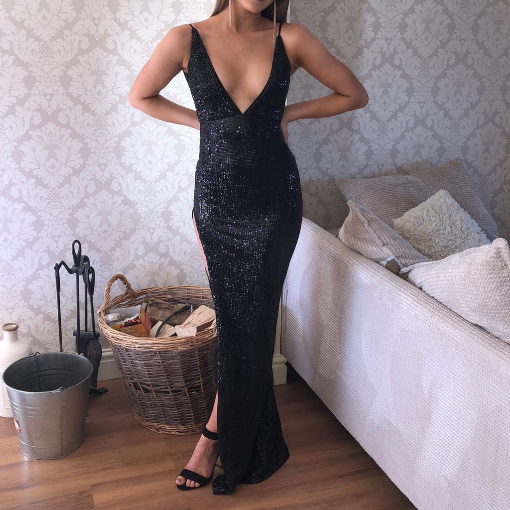 Black Criss-cross Sexy Split Latest Shiny Floor-length Mermaid Sleeveless Prom Dresses JS299