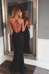 Black Mermaid Backless Lace Prom Dresses Floor-Length Evening Gowns JS967