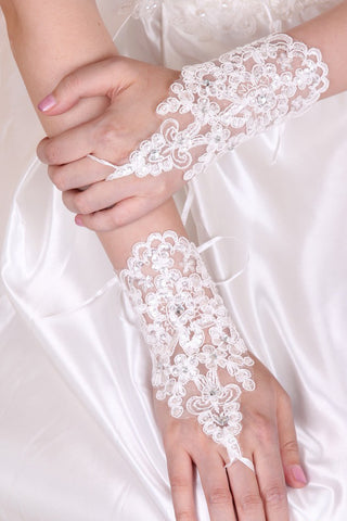Lace Wrist Length Bridal Gloves JS0036