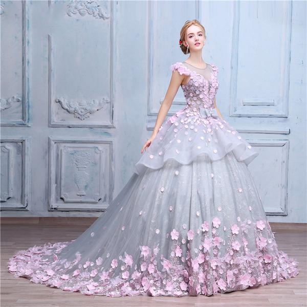 Pretty Flowers Quinceanera Dresses Ball Gown Long Backless Wedding Gowns JS357