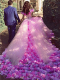 Pink Cathedral Off the Shoulder Ball Gown Vintage 3D Flower Applique Wedding Dresses PW379