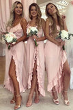 Pink Spaghetti Straps Sweetheart High Low Prom Dresses Chiffon Bridesmaid Dresses BD1016