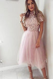 Pink Tea Length Tulle High Neck Short Sleeve Homecoming Dresses Short Prom Dress H1031