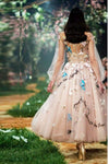 A Line Princess Long Sleeve Tulle Prom Dresses With 3D Flowers Homecoming Dresses