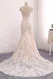 Princess Mermaid Lace Appliques Scoop Straps Ivory Wedding Dresses Bridal Dresses W1013