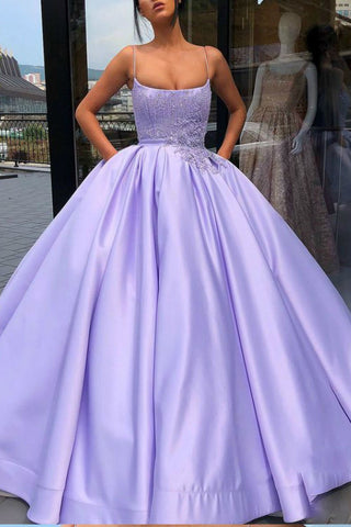 Purple Ball Gown Spaghetti Straps Satin Prom Dress With Pocket Quinceanera Dress