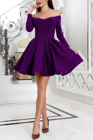 Purple Off the Shoulder Long Sleeve Homecoming Dresses Above Knee Short Prom Dresses H1167